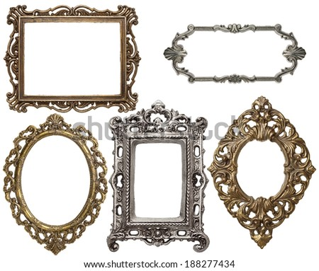 vintage metal frames isolated - Metal Photo Frames