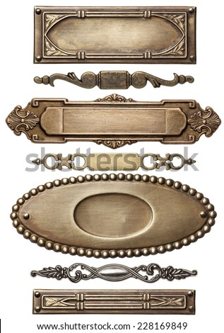 Vintage metal frames, isolated. - stock photo