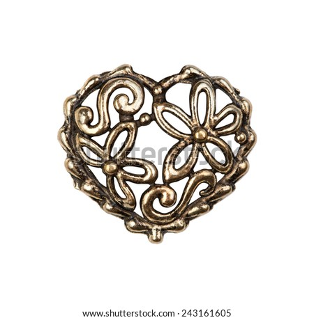 Vintage metal heart with flowers, isolated - stock photo