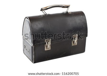 Vintage metal lunch box, closed, black with silver latches and handle. - stock photo