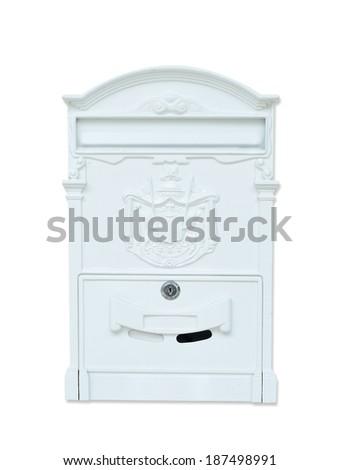Vintage metal mailbox, Isolation on white background - stock photo