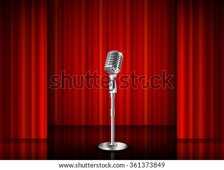Vintage metal microphone against red curtain backdrop. mic on empty theatre stage, art image illustration. stand up comedian night show or karaoke party background. retro design  Raster version