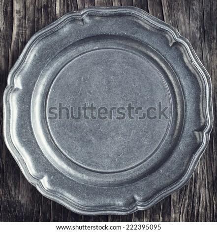 Vintage metal plate - stock photo