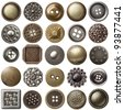 Vintage metal sewing buttons collection - stock photo
