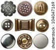 Vintage metal sewing buttons, isolated - stock vector