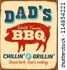 Vintage metal sign - Dad's BBQ - JPG Version - stock photo