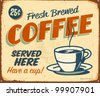 Vintage metal sign - Fresh Brewed Coffee - Raster Version. - stock photo