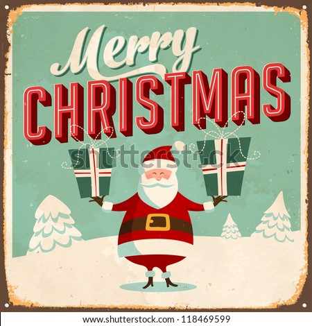 Vintage Metal Sign - Merry Christmas - JPG Version. - stock photo