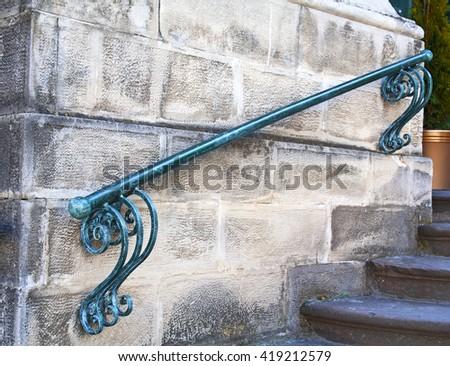 Vintage metal staircase - stock photo