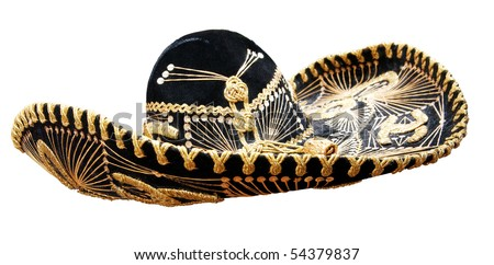 Vintage Mexican Sombrero isolated on white. Clipping path included. - stock photo