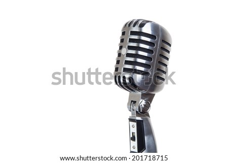 vintage microphone isolated on white - stock photo