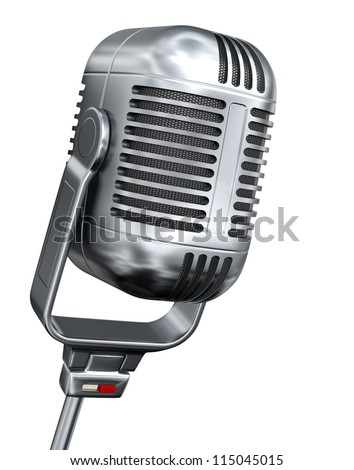 Vintage microphone - isolated on white background - stock photo