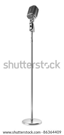 vintage microphone isolated on white background - stock photo