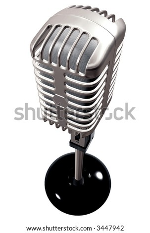 vintage microphone made in 3d – isolated over a white background - stock photo