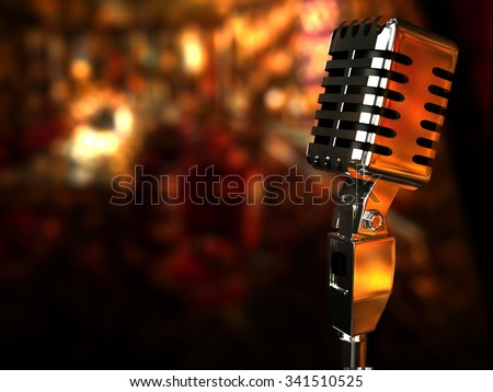 Vintage Microphone on a Jazz-club Background - Stock Image - stock photo