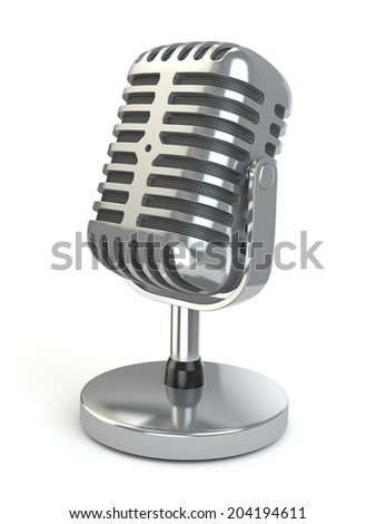 Vintage microphone on a white isolated background. 3d - stock photo