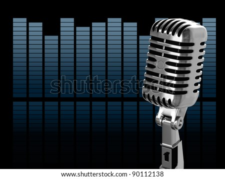 Vintage microphone on the background - stock photo