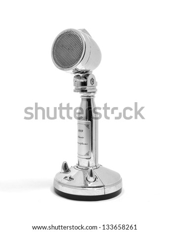 Vintage microphone on white - stock photo