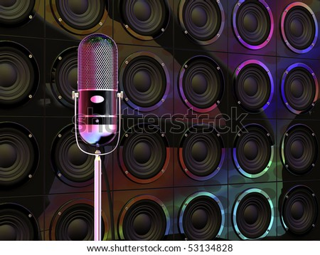 Vintage microphone under colorful disco lights and loudspeakers in background - stock photo