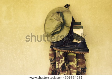 vintage,military caps,military boots and military shirt - stock photo