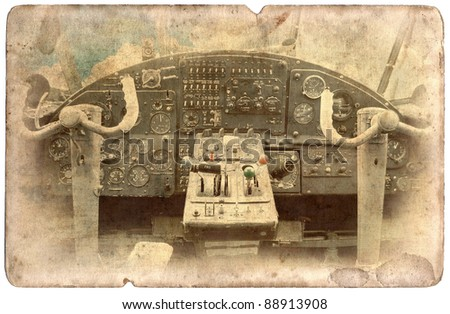 Vintage military postcard isolated on white background, cockpit dash board - stock photo