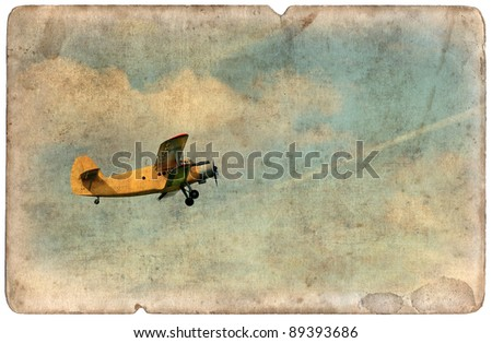 Vintage military postcard isolated on white background, flying old biplane - stock photo