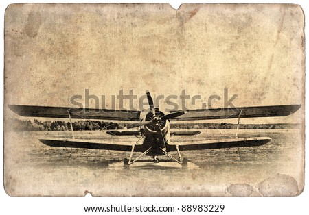 Vintage military postcard isolated on white background, old biplane - stock photo