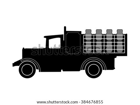 vintage milk delivery truck silhouette on white - stock photo