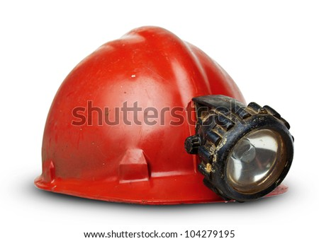 vintage miners helmet with lamp on a white background - stock photo