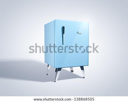 Vintage mini refrigerator - stock photo