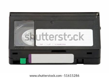 Vintage Mini VHS Cassette Isolated on White Background - stock photo
