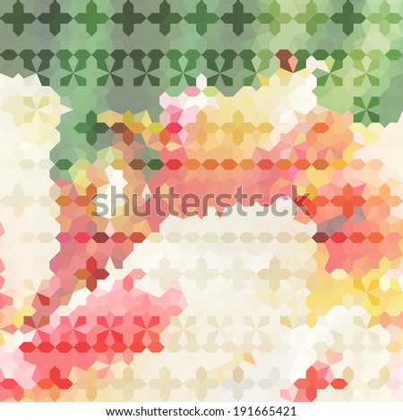 Vintage minimalistic defocused background with geometric ornament. Raster version - stock photo