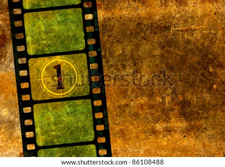 Vintage 35 mm film reel, colorful background with grunge textured film frames and a number one in countdown. - stock photo