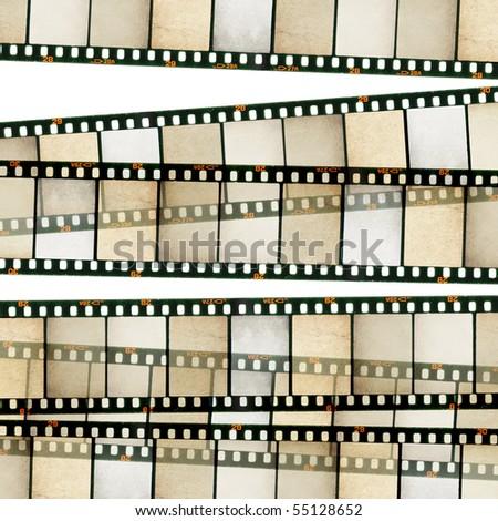 Vintage 35mm film stripes background. Isolated on white. - stock photo