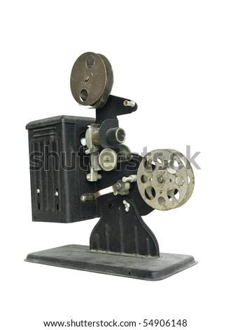 Vintage 16mm hand-crank film projector - stock photo