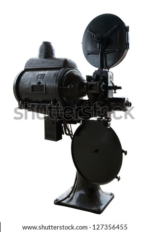 Vintage 35 mm movie projector isolated on white background. - stock photo