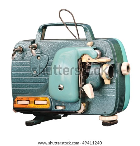 Vintage 8 mm portable film projector isolated on white. - stock photo