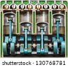 Vintage model of a classic car engine with focus on pistons used for education purposes - stock photo