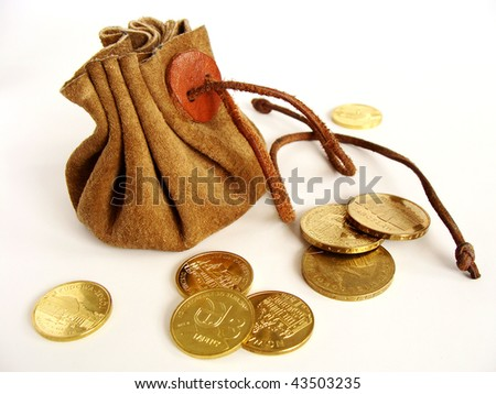 vintage money-bag and golden coins isolated on white - stock photo