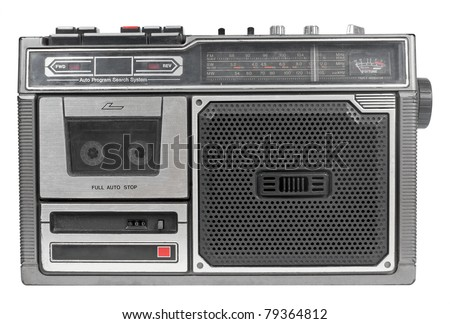 Vintage mono radio cassette recorder isolated over white background
