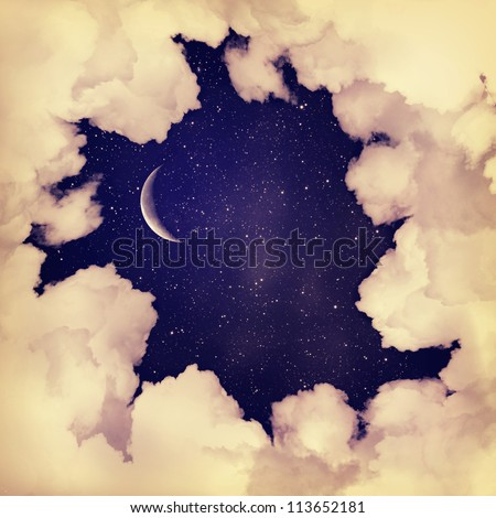 Vintage moon sky background - stock photo