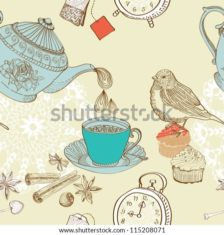 vintage morning tea background. seamless pattern for design - stock photo