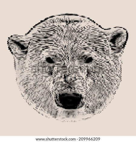 Vintage mosaic head portrait of a polar bear female. The most dangerous animal of the Arctic region. The mask of a wild beauty. Square illustration. - stock photo