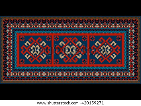 Vintage motley carpet with ethnic red pattern on the center - stock photo