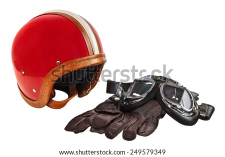 Vintage motor helmet with goggles and gloves isolated on a white background - stock photo