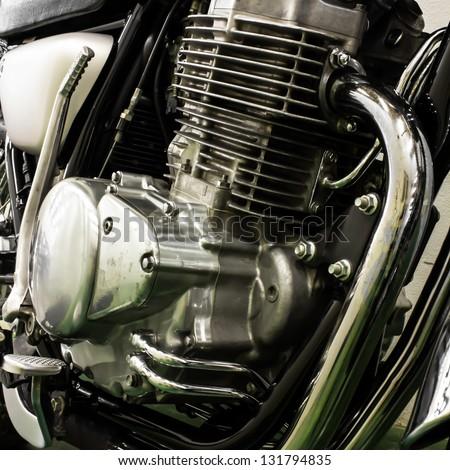vintage Motorcycle detail - stock photo