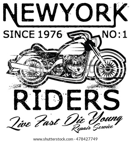 Vintage Motorcycle hand drawn tee graphic design
