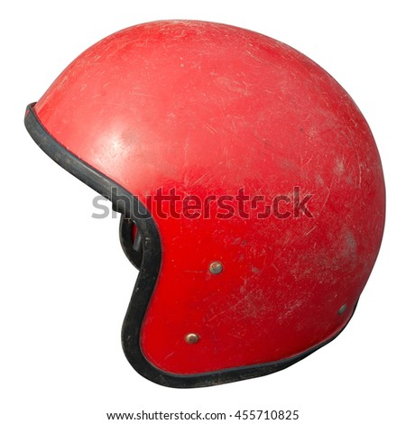 Vintage motorcycle helmet isolated on white - stock photo