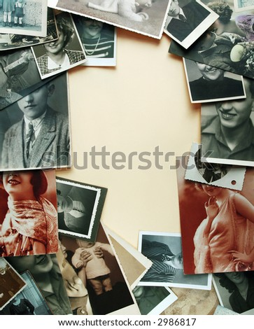 Vintage mouths - border of very old photographs on yellowish background - stock photo
