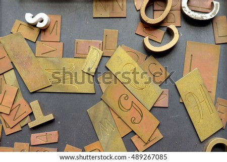 vintage movable type letters on a table
